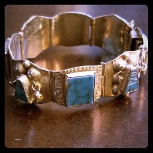 Vintage Sterling Silver & Turquoise Bracelet VGUC